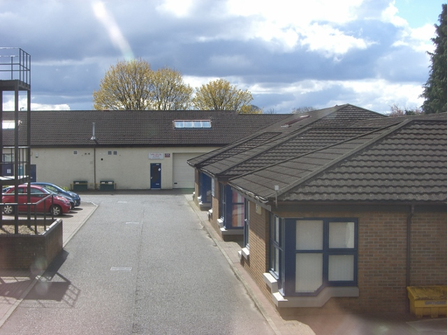The car park and buildings of Business Industrial Units at Millar Court in Alloa Business Park