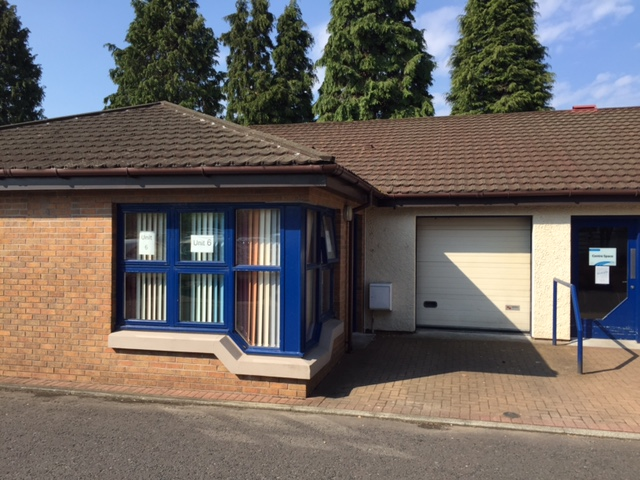 An external shot of an office with attached storage of a Business Industrial Unit at Millar Court in Alloa